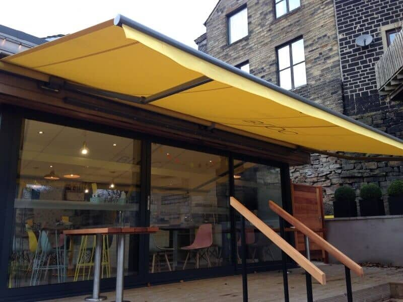 Yellow outdoor awning